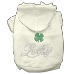 Lucky Rhinestone Hoodies Cream XS (8)